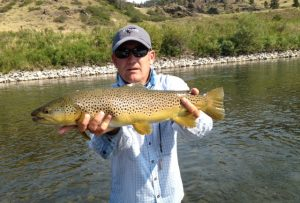 Mitch Kowalski A.K.A. super guide with a Missouri River Brown Trout